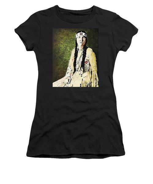 Women's T-Shirt (Junior Cut) featuring the digital art Cherokee Woman by Lianne Schneider
