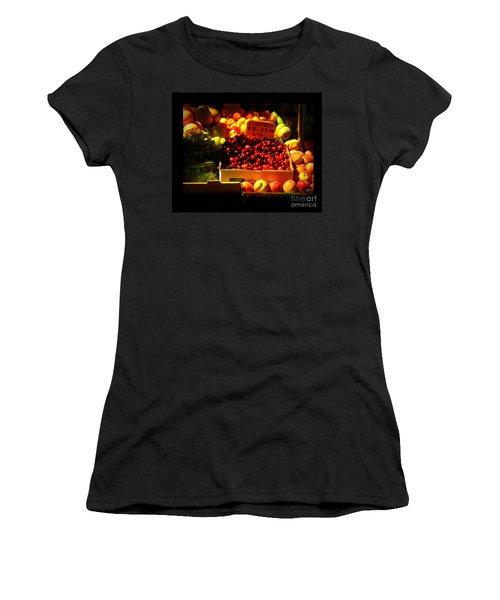 Women's T-Shirt (Junior Cut) featuring the photograph Cherries 299 A Pound by Miriam Danar