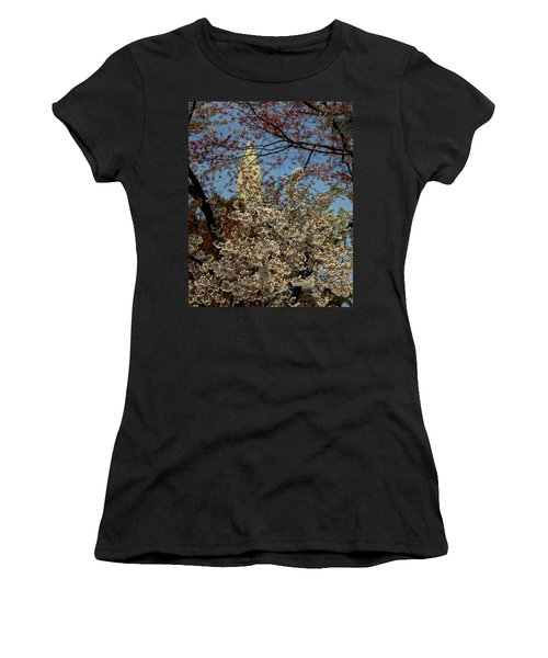 Cherry Blossoms And The Monument Women's T-Shirt