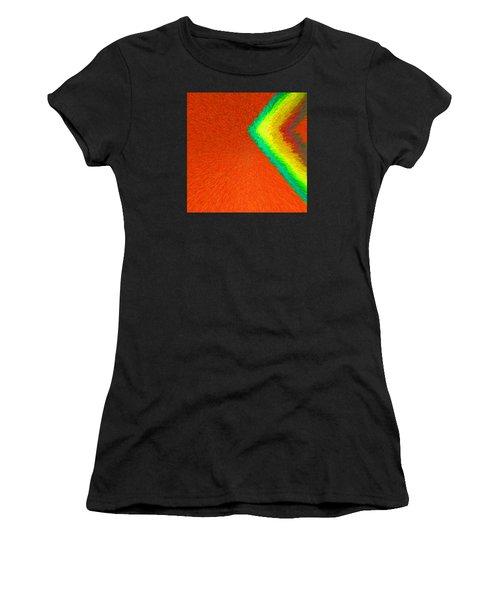 Chevron Rainbow Orange C2014 Women's T-Shirt (Athletic Fit)