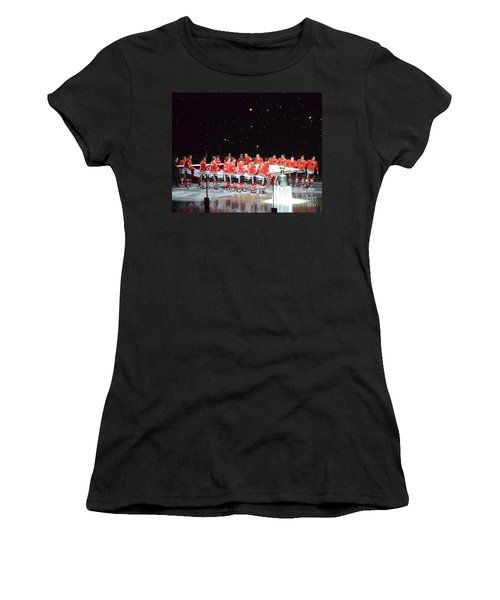 Chicago Blackhawks And The Banner Women's T-Shirt (Junior Cut) by Melissa Goodrich