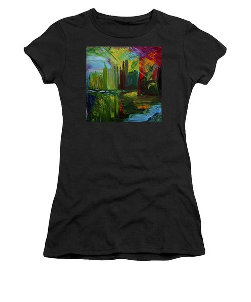Chicago City Scape Women's T-Shirt (Junior Cut) by Dick Bourgault