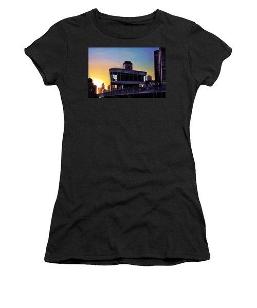 Women's T-Shirt (Junior Cut) featuring the photograph Chicago Lock Tower by John Hansen