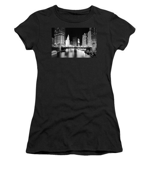 Chicago River Bridge Skyline Black White Women's T-Shirt