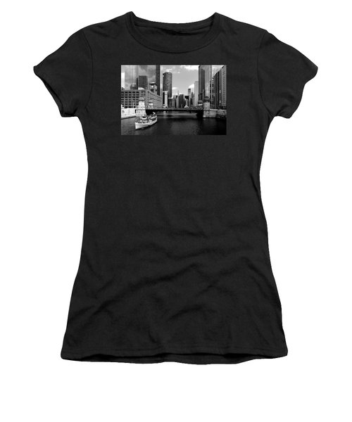 Chicago River Skyline Bridge Boat Women's T-Shirt