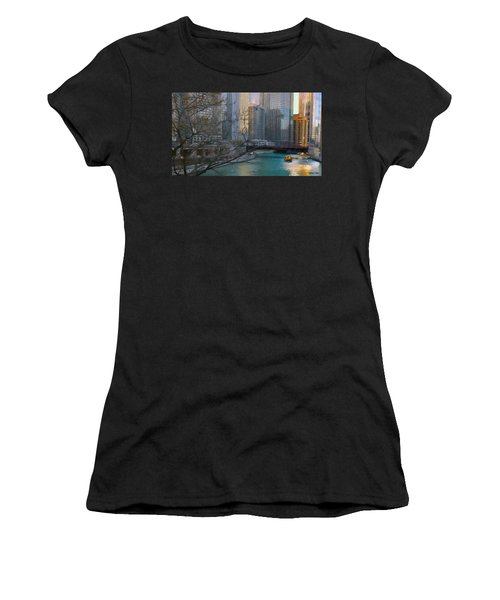 Chicago River Sunset Women's T-Shirt (Athletic Fit)
