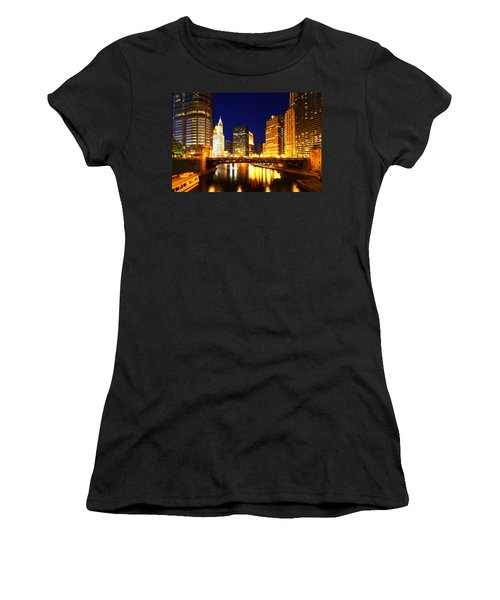 Chicago Skyline Night River Women's T-Shirt