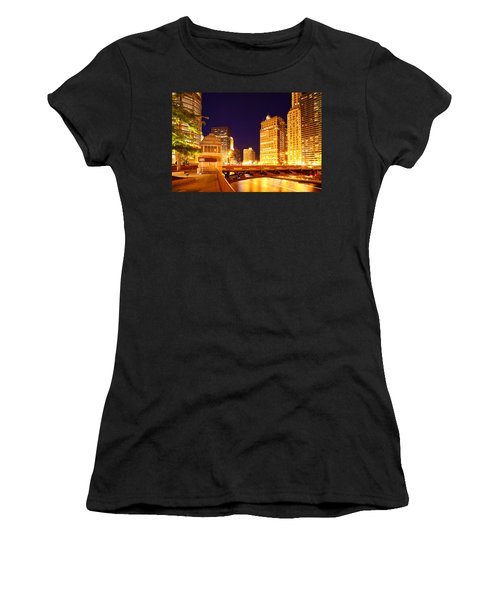 Chicago Skyline River Bridge Night Women's T-Shirt