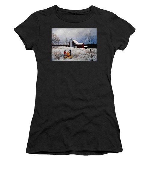 Children Warming Up By The Fire Women's T-Shirt
