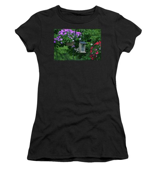 Women's T-Shirt (Junior Cut) featuring the photograph Chow Time For This Bird by Thomas Woolworth