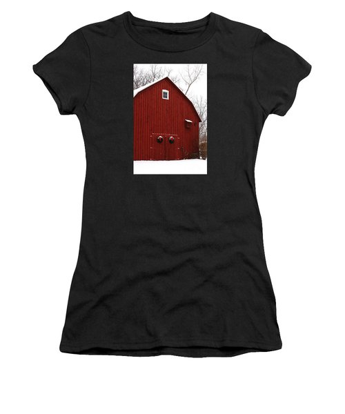 Women's T-Shirt featuring the photograph Christmas Barn 6 by Linda Shafer