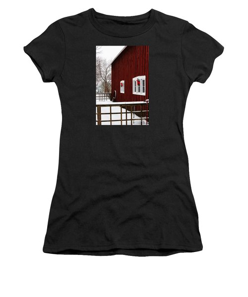 Women's T-Shirt featuring the photograph Christmas Barnyard by Linda Shafer