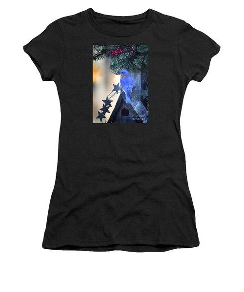 Christmas Bluebird Women's T-Shirt (Junior Cut) by Nava Thompson