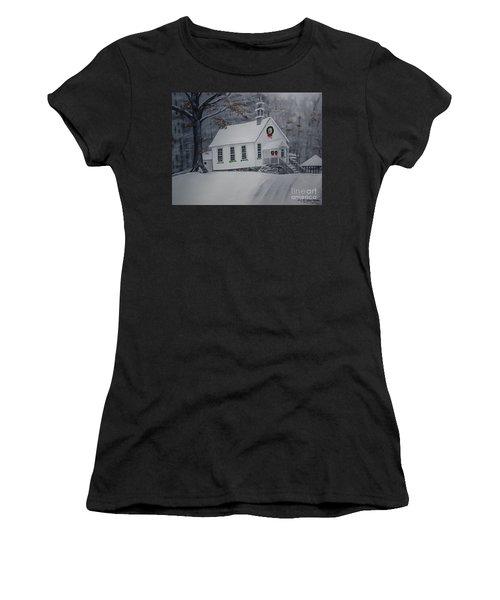 Christmas Card - Snow - Gates Chapel Women's T-Shirt (Athletic Fit)