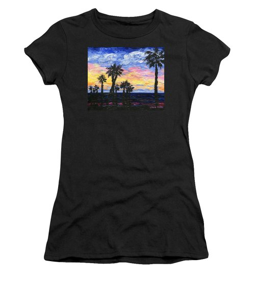 Women's T-Shirt (Junior Cut) featuring the painting Christmas Eve In Redondo Beach by Jamie Frier