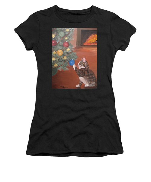 Christmas Kitty Cat Women's T-Shirt (Athletic Fit)