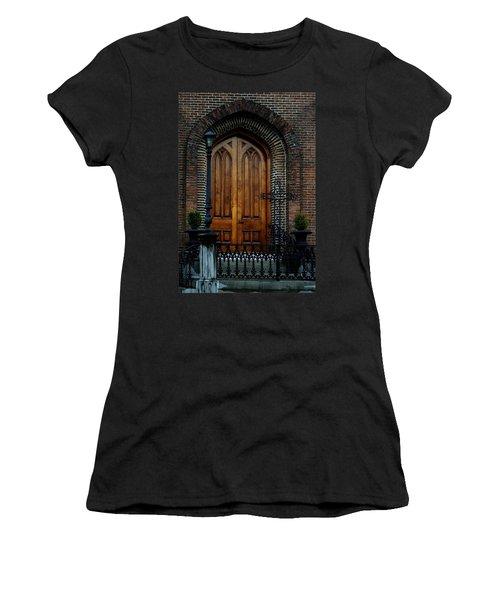 Church Arch And Wooden Door Architecture Women's T-Shirt (Junior Cut) by Lesa Fine