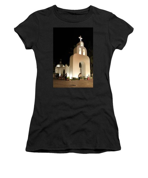 Church At Night In Playa Del Carmen Women's T-Shirt (Athletic Fit)