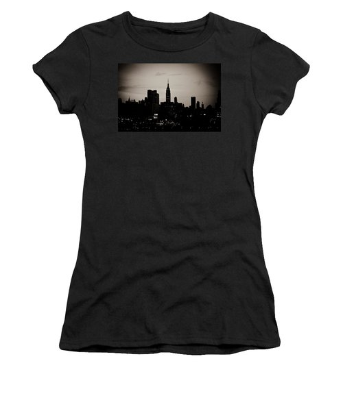 Women's T-Shirt (Junior Cut) featuring the photograph City Silhouette by Sara Frank