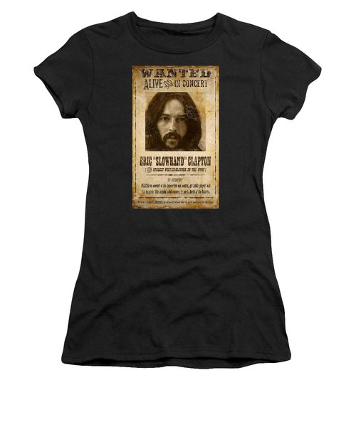 Clapton Wanted Poster Women's T-Shirt (Athletic Fit)