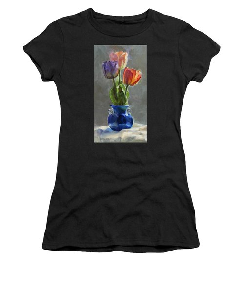 Cobalt And Tulips Still Life Painting Women's T-Shirt
