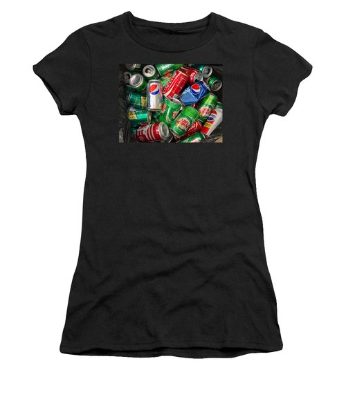 Women's T-Shirt (Junior Cut) featuring the photograph Collection Of Cans 02 by Andy Lawless