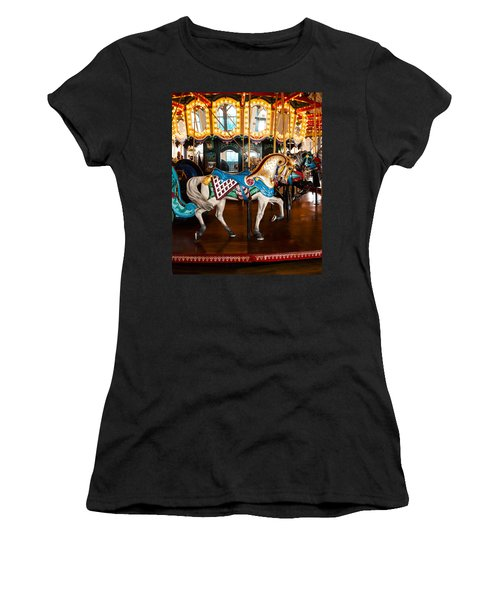 Women's T-Shirt (Junior Cut) featuring the photograph Colorful Carousel Horse by Jerry Cowart