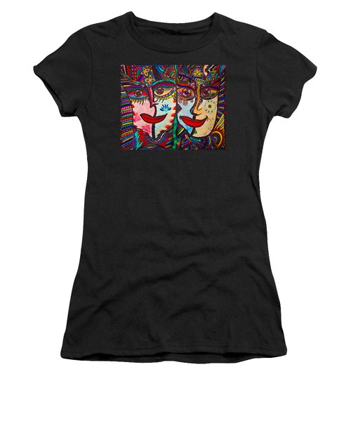 Colorful Faces Gazing - Ink Abstract Faces Women's T-Shirt (Athletic Fit)
