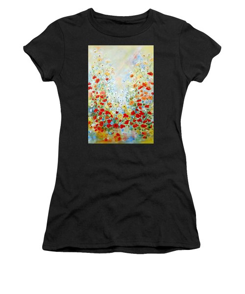 Colorful Field Of Poppies Women's T-Shirt (Athletic Fit)
