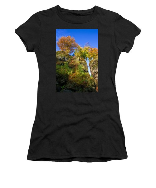 Colorful Trees In The Elbe Sandstone Mountains Women's T-Shirt
