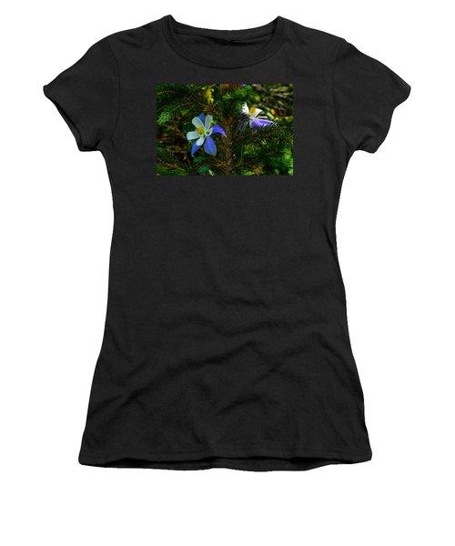Columbine Flowers And Pine Tree Women's T-Shirt