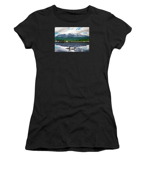 Common Loon On Togue Pond By Mount Katahdin Women's T-Shirt