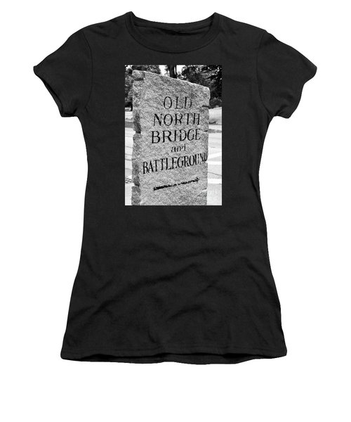 Concord Ma Old North Bridge Marker Black And White Women's T-Shirt (Athletic Fit)