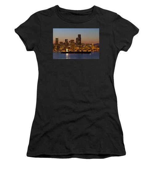 Women's T-Shirt (Junior Cut) featuring the photograph Container Ship On Puget Sound Along Seattle Skyline by JPLDesigns