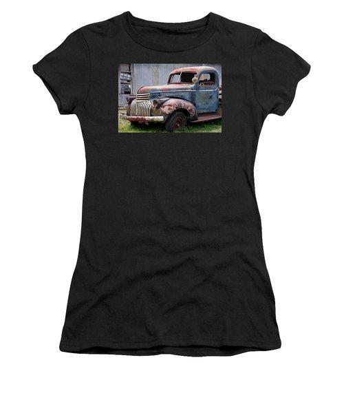 Women's T-Shirt (Junior Cut) featuring the photograph Cool Blue Chevy by Steven Bateson