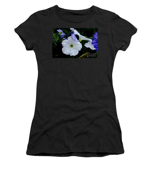 Women's T-Shirt (Junior Cut) featuring the photograph Cool Summer Petunias by Wilma  Birdwell