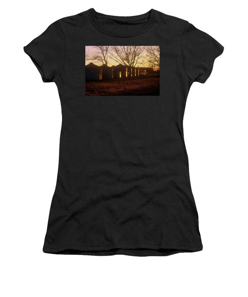 Women's T-Shirt (Junior Cut) featuring the photograph Corn Cribs At Sunset by Rodney Lee Williams