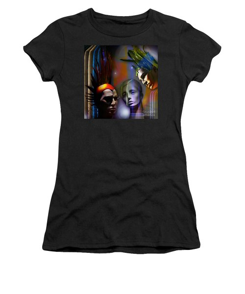 Women's T-Shirt (Junior Cut) featuring the digital art Cosmic Mannequins Triad by Rosa Cobos