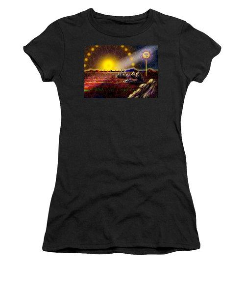 Cosmic Signpost Women's T-Shirt (Junior Cut) by Melinda Fawver