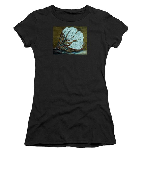 Cotton Boll On Wood Women's T-Shirt (Athletic Fit)