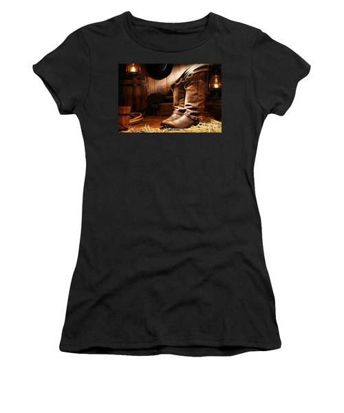 Cowboy Boots In A Ranch Barn Women's T-Shirt
