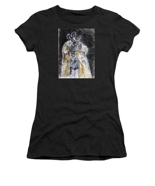 Cowboy Drinking Coffee Women's T-Shirt (Junior Cut) by Francine Heykoop