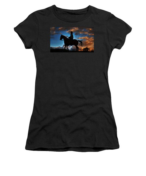 Women's T-Shirt (Junior Cut) featuring the photograph Cowboy Silhouette by Ken Smith