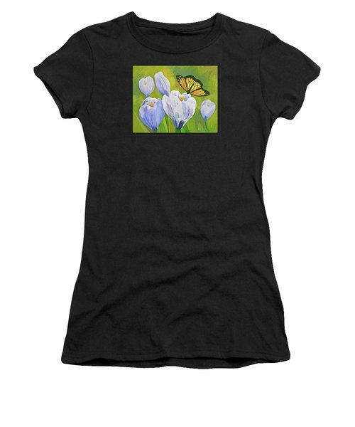 Crocus And Monarch Butterfly Women's T-Shirt (Athletic Fit)