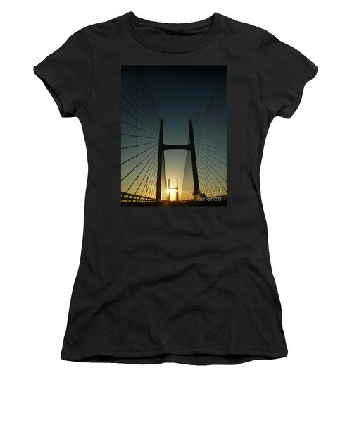 Crossing The Severn Bridge At Sunset - Cardiff - Wales Women's T-Shirt (Junior Cut) by Vicki Spindler