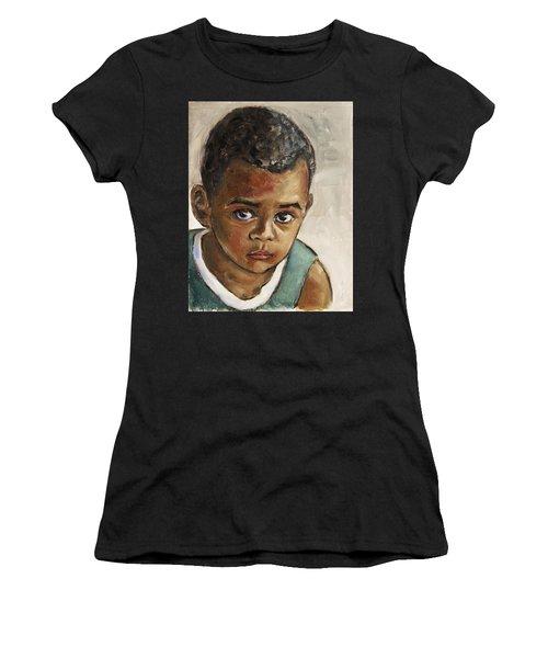 Curious Little Boy Women's T-Shirt (Athletic Fit)