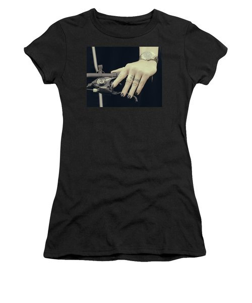 Women's T-Shirt (Junior Cut) featuring the photograph Cycling Lady by Ari Salmela