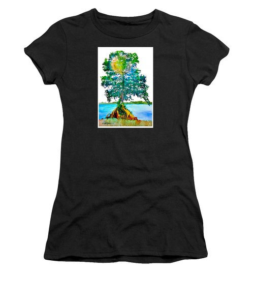 Da107 Cypress Tree Daniel Adams Women's T-Shirt (Athletic Fit)