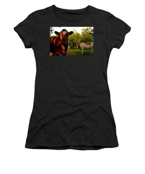 Dads Cows Women's T-Shirt (Junior Cut) by Lon Casler Bixby