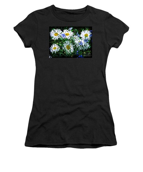 Daisies With Blue Flax And Bee Women's T-Shirt (Athletic Fit)